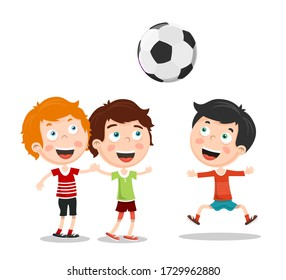 Kids Playing Football Vector Illustration. Boys with Soccer Ball Isolated on White Background.