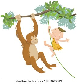Kids playing in the forest with orangutans