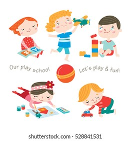 Kids are playing games at preschool. Happy childhood. Vector set on a white background.