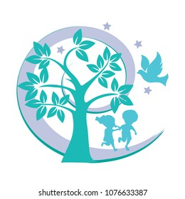 Kids playing in the Garden of Eden with a christian symbol of dove vector illustration. Can be used for christian early learning centers logo, summer camps poster, TV show for kids logo.
