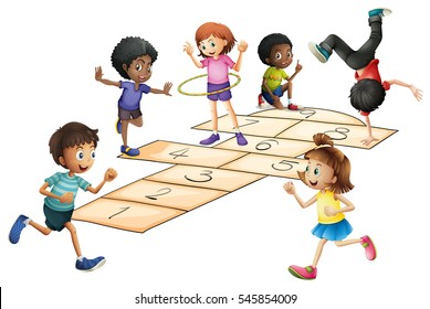Kids playing hopscotch in the field illustration