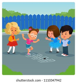 Kids playing hopscotch game outdoor. Cartoon vector illustration