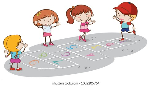 Kids Playing Hopscotch on White Backgrounf illustration