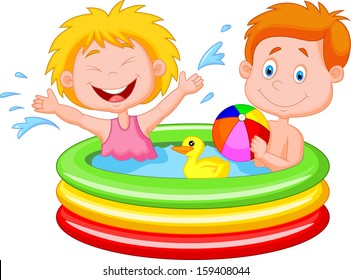 Kids Playing in an Inflatable Pool