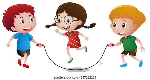 Kids playing jump rope illustration