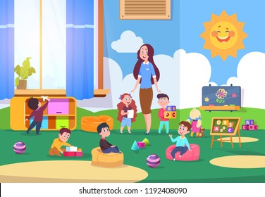Kids playing kindergarten class. Cute children learning in classroom with teacher. Kinders preparing to school. Vector illustration. Kindergarten room, child education, teacher character female