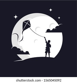 Kids Playing Kite with Moon Background Logo Design Template