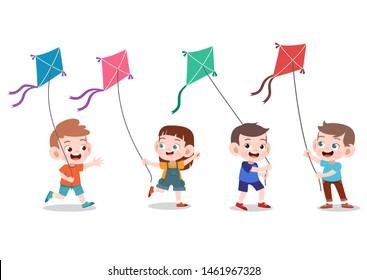 kids playing kite Vector illustration