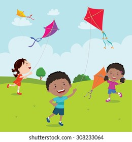 Kids playing with kites. Vector illustration of children flying kites on the meadow.