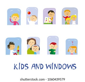 Kids playing, learning and having fun set at home near the windows. Vector graphic illustration