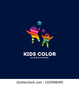 Kids Playing logo designs concept vector, Children Color logo template icon