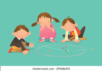 Kids playing Marbles game