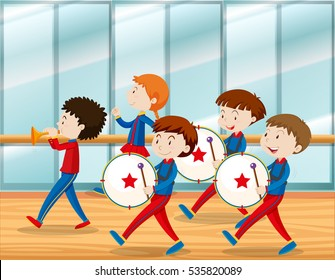 Kids playing music in school band illustration
