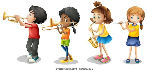 Kids playing musical instruments illustration