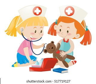 Kids playing nurse with doll illustration