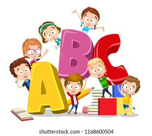 Kids playing on alphabet letters