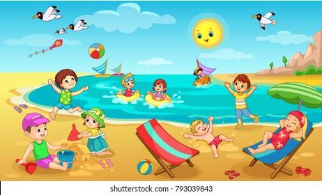 Kids playing on Beach vector illustration