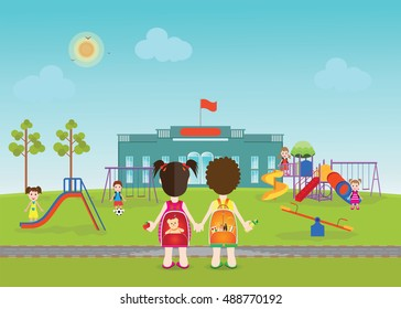Kids playing on playground  with equipment, swings, slides and tube, school background, Modern flat style vector illustration cartoon clip art
