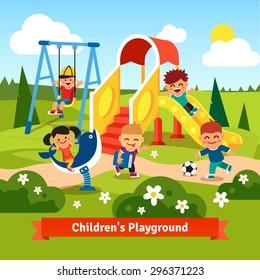 Kids playing on playground. Swinging and sliding children. Flat style vector cartoon illustration.