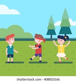 Kids playing outdoor blindfold game. Hide and seek or voice in the dark. Modern flat vector kids illustration clipart.