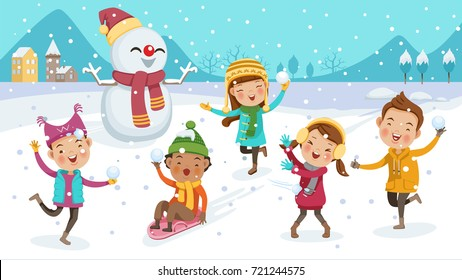 kids playing outdoors in winter. little boy riding on snow slides. cute little children Group. Play snow fun. Portrait  in warm clothes. illustration isolated on scene with snowflakes scattering.