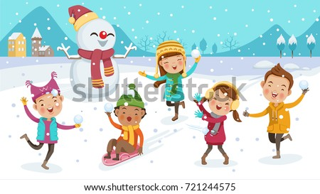 6103014dd Kids Playing Outdoors Winter Little Boy Stock Vector (Royalty Free ...