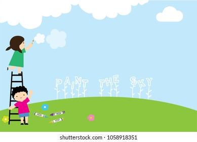 Kids playing in Park. Blue sky green grass and painting.