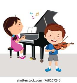 Kids playing piano and violin