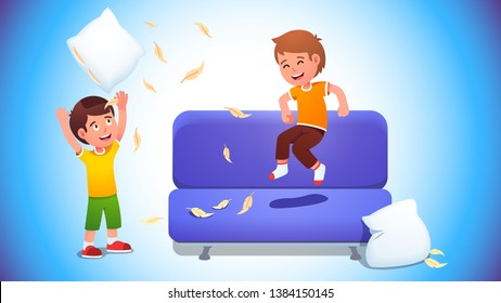 Kids playing with pillows & jumping on a sofa. Boys pillow fight game. Happy cheerful children having fun making mess of flying feathers at home. Flat vector character illustration