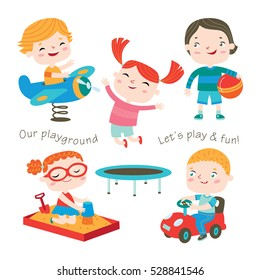 Kids are playing at the playground. Outdoor activities. Happy childhood. Vector set on a white background.