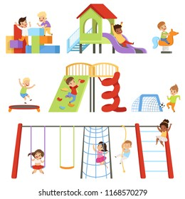 Kids playing at playground set, children swinging on swing, climbing up ladder, riding spring horse see saw vector Illustrations on a white background