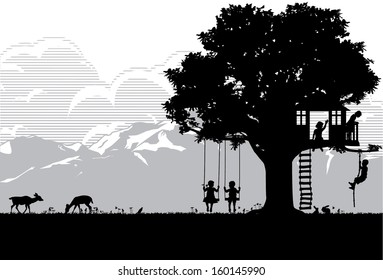 Kids playing at playgrounds, vector