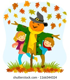 Kids playing with a pumpkin scarecrow under falling autumn leaves