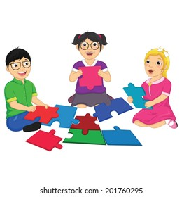 Kids Playing Puzzle Vector Illustration