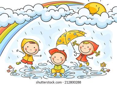 Kids playing in the rain