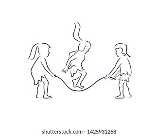 Kids Playing Rope Skipping Silhouette