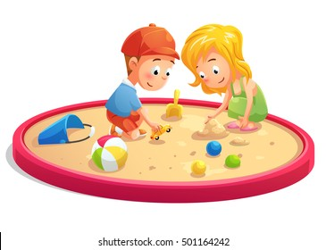 Kids playing in sandbox cartoon style, vector art and illustration.