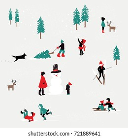 KIDS PLAYING IN THE SNOW, WINTER CHRISTMAS PATTERN. Editable and repeatable design pattern or greeting card for the holidays. Vector illustration file.