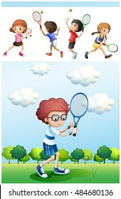 Kids playing tennis in park illustration