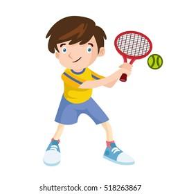 Kids Playing Tennis Sport Activities Vector