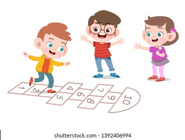 kids playing together vector illustration isolated