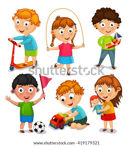 kids playing toys boys riding scooter stock vector (royalty freekids are playing with toys boys are riding a scooter, playing with a toy