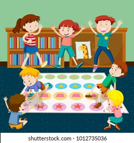 Kids playing twister in room illustration