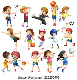 Kids playing various sports on white
