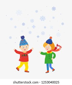 Kids playing at winter under the snow scene. Vector graphic illustration