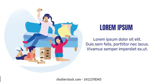 Kids Playing Wooden Risk Block Game. Motivational Banner with Place for Editable Promotion Text. Children Having Fun at Home Playing Jenga in Living Room. Flat Cartoon Vector Illustration
