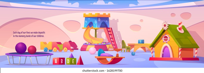 Kids playroom interior, empty indoors playground with furniture and equipment for games slide with dry pool and balls, trampoline, wood house, toys and desks for children Cartoon vector illustration