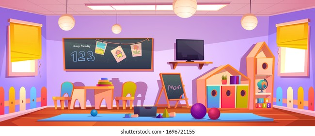 Kids playroom interior, empty indoors nursery room playground with montessori wooden toys, furniture and equipment for games, wood house, blackboard and desk for children. Cartoon vector illustration