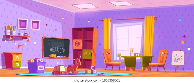 Kids playroom interior, empty indoors nursery room playground with montessori toys, wooden furniture, shelves and equipment for games and studying, blackboard and desk. Cartoon vector illustration