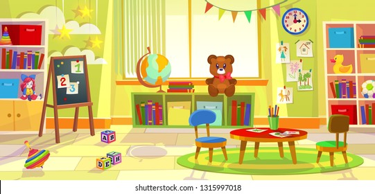 Kids playroom. Kindergarten child apartment game classroom learning toys room preschool class table chairs, cartoon vector illustration